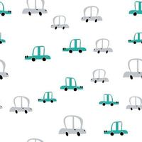 vector color pastel doodle coches escandinavos. patrón de bebé sin costuras. textura para papel tapiz, rellenos, fondo de página web