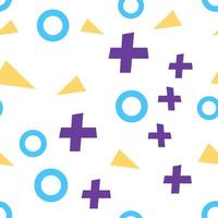 Flat vector texture of geometric colorful shapes. Geometric figures patter in modern hipster style. Abstract background with blue circles, lilac crosses and yellow triangles