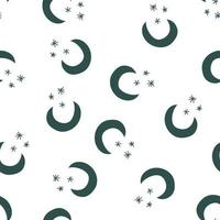 Vector seamless night pattern with moon and stars. Abstract shape texture. Effect of sky. Design template for wallpaper, wrapping, fabric, textile Illustration