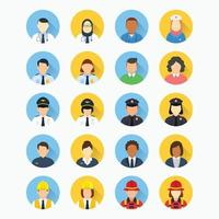 People with different professions avatar round icon vector
