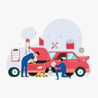 Car service and repair design concept vector illustration