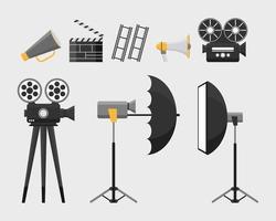 Conjunto de equipo de herramientas de película de cinematografía. vector