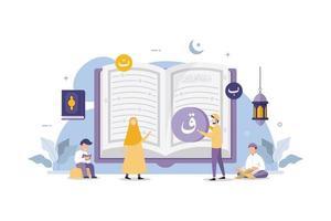 musulmanes leyendo y aprendiendo el libro sagrado islámico del corán vector