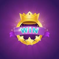 Game winner badge design with shiny crown and star award vector illustration