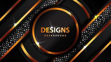 Banner dorado de lujo moderno con brillo, tablero de fondo dorado de círculo abstracto para diseño de texto y mensaje vector