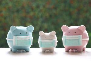 Piggy banks wearing protective medical masks on a natural green background, save money for medical insurance and health care concept