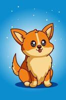 ilustración de perro cachorro lindo y feliz vector