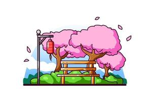 jardín de flor de cerezo japonés vector