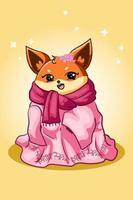 un hermoso zorro con una bufanda con flores de cerezo vector