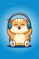 A baby cat wearing earphone hand drawing vector