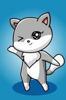 A pretty white gray cat hand drawing vector