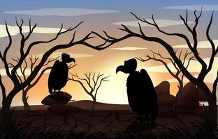 Silhouette Vulture and Forest Scene at sunset time vector