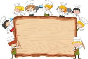 Empty wooden board with many little chefs theme isolated vector