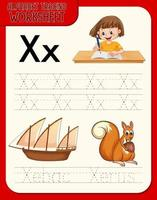 Alphabet tracing worksheet with letter X and x vector