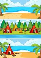 Conjunto de diferentes escenas de playa horizontal con personaje de dibujos animados de niños doodle vector