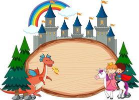 Banner de madera en blanco con personaje de dibujos animados de cuento de hadas y elementos aislados vector