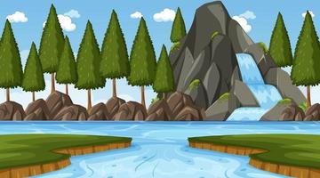 Nature scene with waterfall in the forest and river vector
