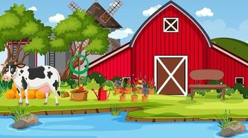 Red barn in farm scene with a cow vector