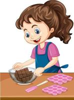 Chef girl with baking equipment on the table vector