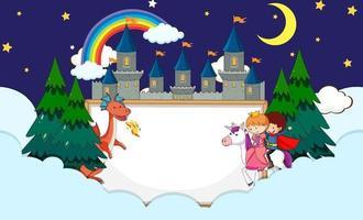 Banner vacío en el cielo nocturno con elementos y personajes de dibujos animados de cuento de hadas vector