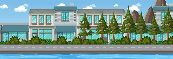 Many buildings along the street horizontal scene at day time vector