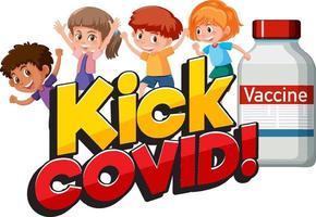 kick covid font con muchos niños personajes de dibujos animados