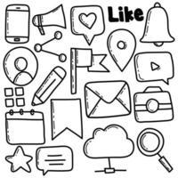 Social Media Doodle Icon Set vector
