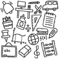 paquete de doodle de material escolar vector