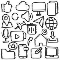 conjunto de ilustración de doodle de interfaz de usuario