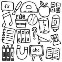 School Supplies Doodle Icon Set vector