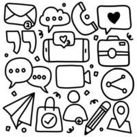 Doodle Set of Social Media Icon vector