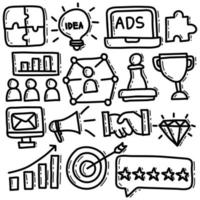 Business Strategy Doodle Illustration Set vector