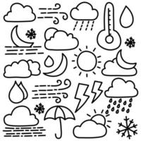 Doodle Set of Weather Icon vector