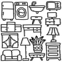 Doodle Set of Household vector