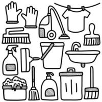 House Cleaning Doodle Elements set vector