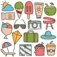 Set of Summer Doodle Icons vector