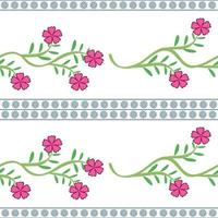Horizontal Pink Flowers Vector Pattern