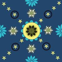 Abstract Flowers and stars background vector Seamless pattern