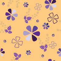 Mixed Flowers Seamless Pattern on yellow background vector