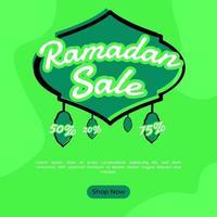 Banner cuadrado venta de Ramadán en color verde para publicación en redes sociales. vector