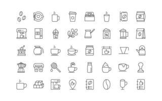 set of coffee thin line icons, drinks, tea, vector