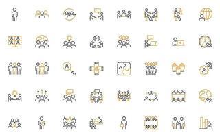 conjunto de iconos de línea fina de gente de negocios, hr, trabajador, reunión, vector