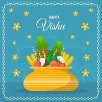 Flat Vishu Festivity with Blue Background vector