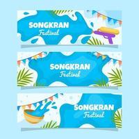 Songkran Festivity Banner Collection vector