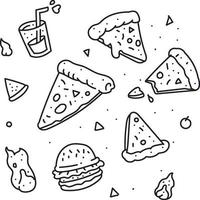 pizza doodle icon set vector