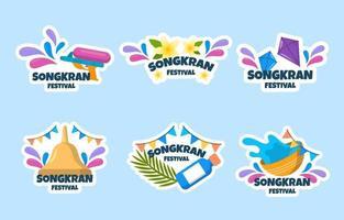 Flat Songkran Festivity Sticker Collection vector