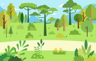 Escena rural con árbol natural.Ilustración vectorial.Hermoso paisaje natural de verano.Bosque con fondo de montaña y cielo.Jardín verde hierba con arbustos y árboles.Árboles y flores estilo plano. vector
