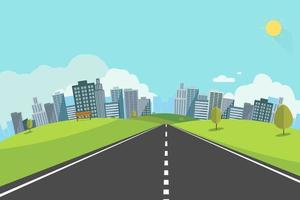 Cityscape scene with road , trees and sky background vector illustration.Main street to town concept.Urban scene with nature background.Cityscape with natural road and hills