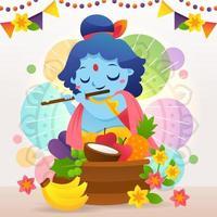 Vishu Festival Worship of Krishna vector