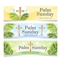 Palm Sunday with Cross Banner vector